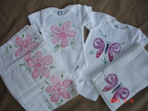 painted baby clothes